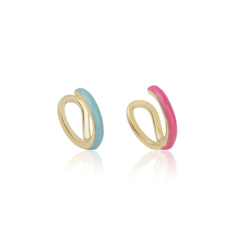 Kit 2 piercings falsos esmaltado turquesa e pink banho de ouro