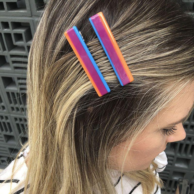 Kit para cabelo bico de pato listras coloridas