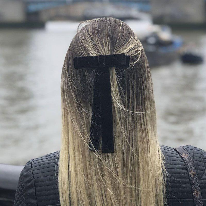 Laço de cabelo fita veludo bico de pato