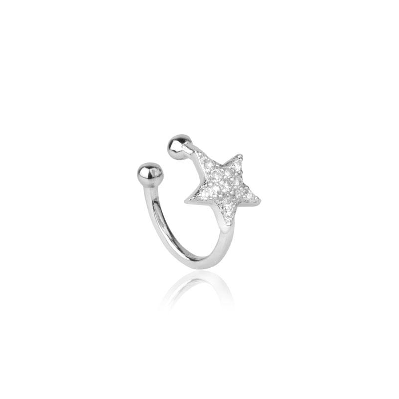 Piercing de encaixe estrela cravejada ródio branco