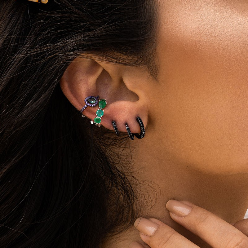 Piercing de pressão em prata 925 com pedras cor esmeralda