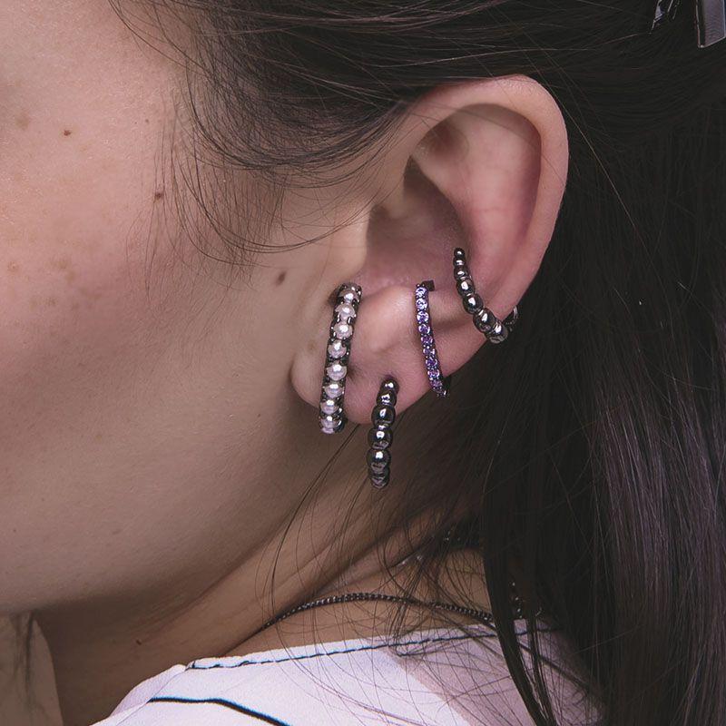 Piercing fake bolinhas ródio negro