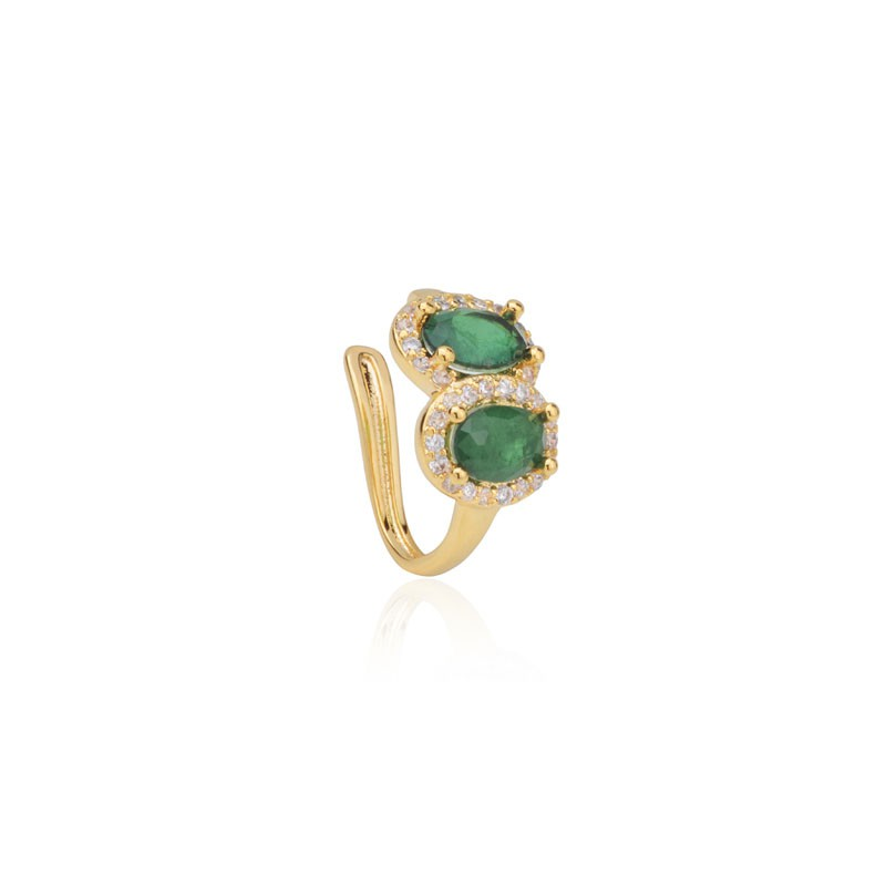 Piercing fake pedra fusion esmeralda banho de ouro