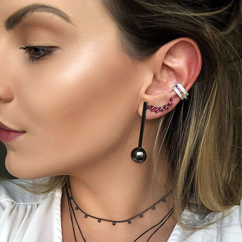 Piercing fake retângulos coloridos ródio branco