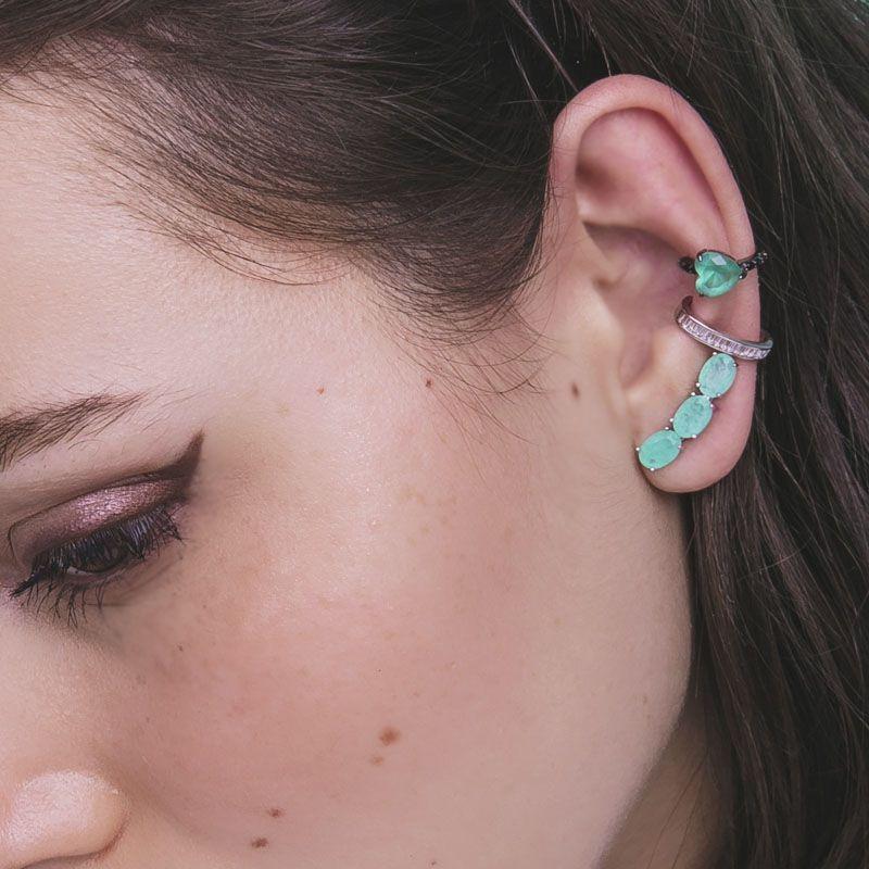 Piercing falso coração esmeralda colombiana fusion original