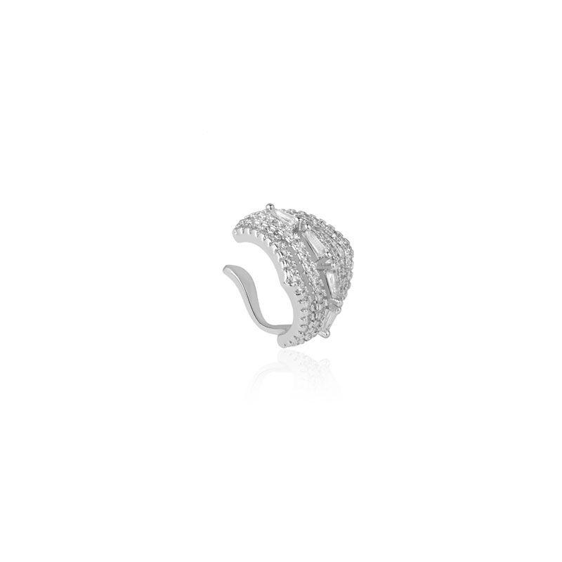 Piercing falso cravejado cristal detalhes ródio branco