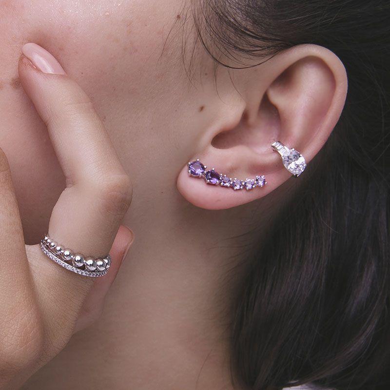 Piercing falso cristal oval cravejado ródio branco semijoia