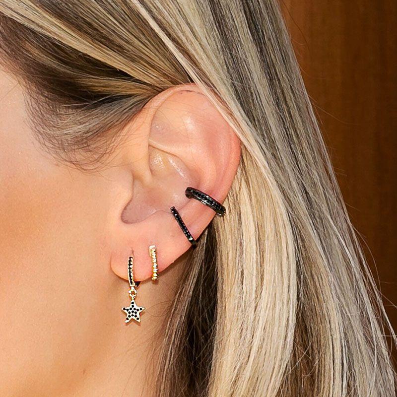 Piercing falso delicado cravejado ródio negro semi joia
