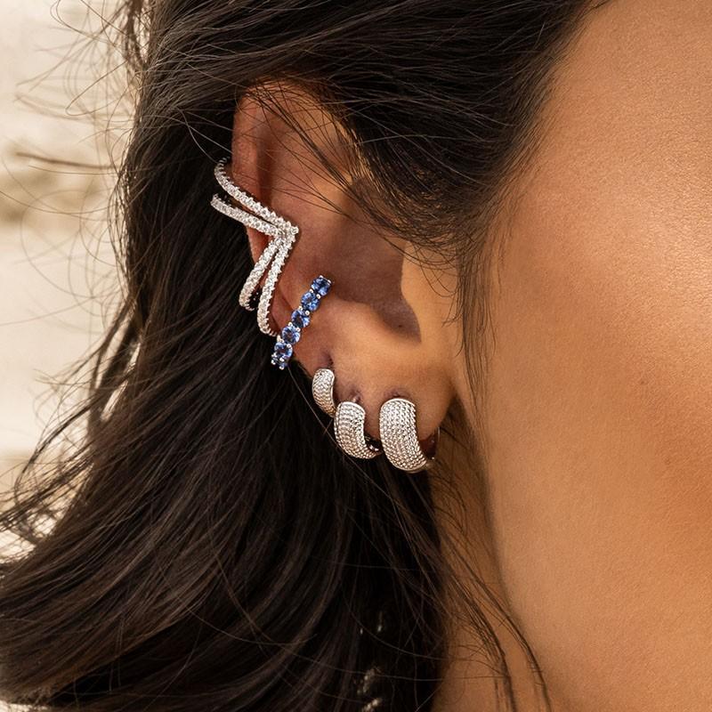 Piercing falso em prata 925 cravejado cor tanzanita