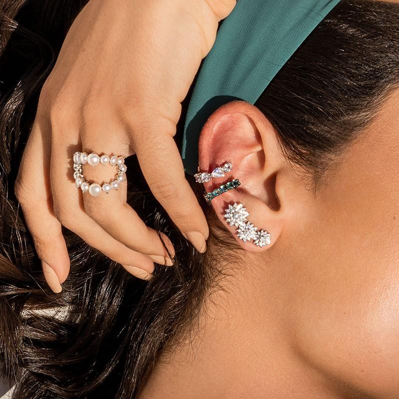 Piercing falso em prata 925 cravejado cor turmalina ródio negro