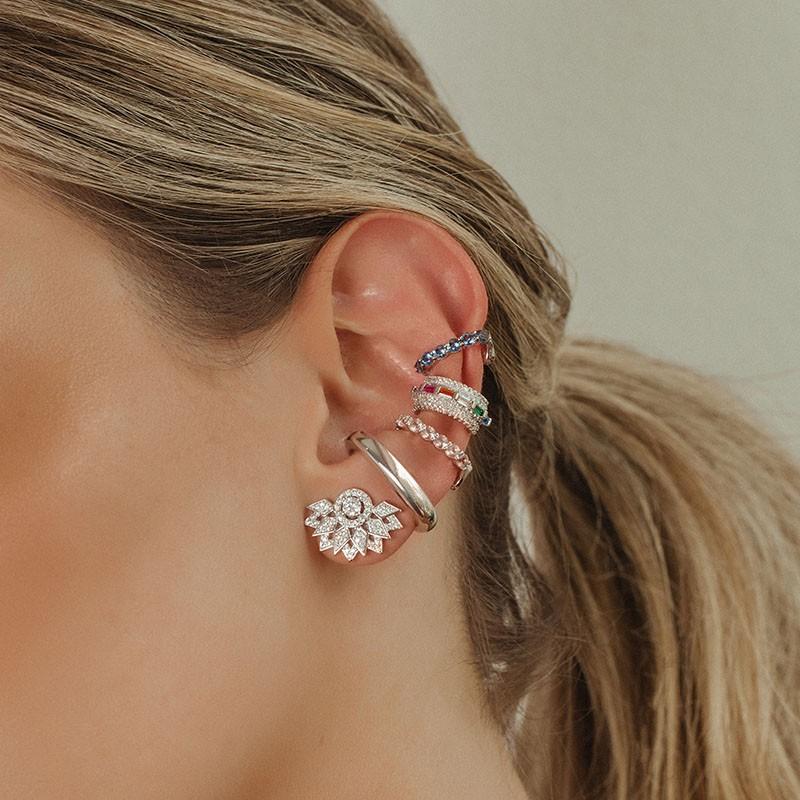 Piercing falso em prata 925 cravejado rose
