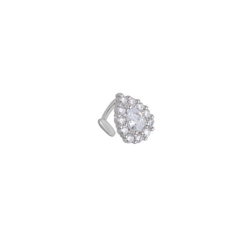 Piercing falso gota cravejada cristal ródio branco