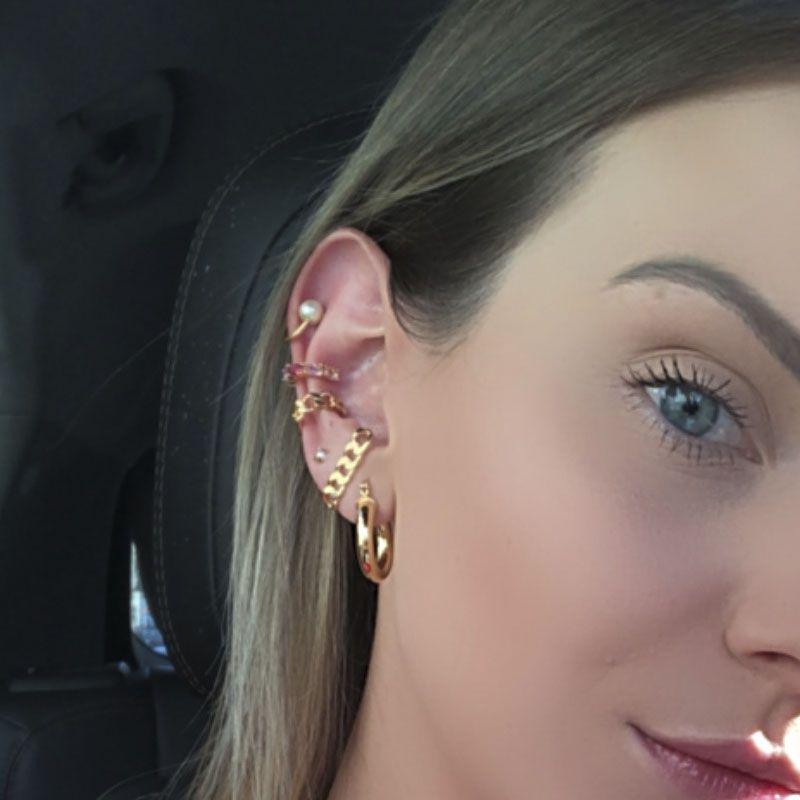 Piercing falso pérola banho de ouro