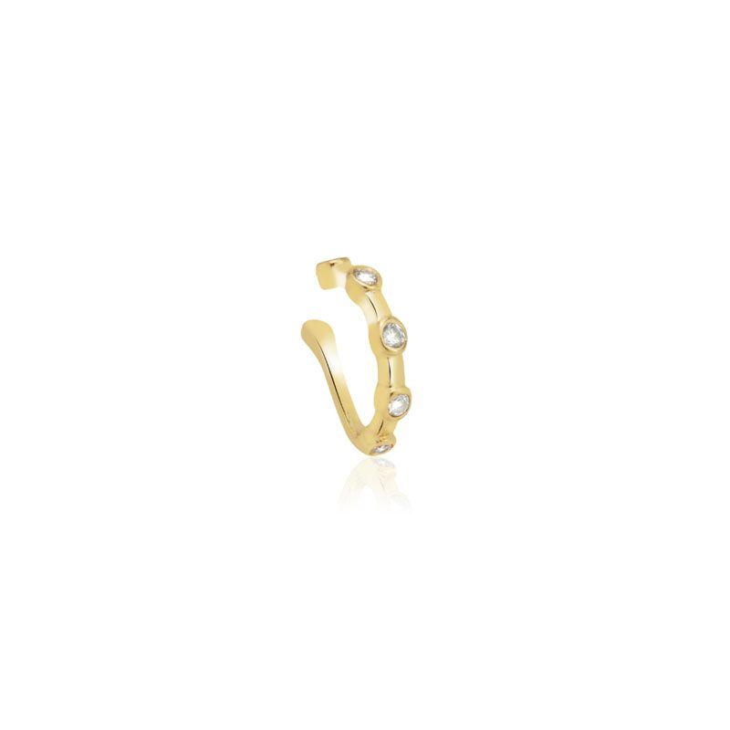Piercing falso pontinhos de luz banho de ouro