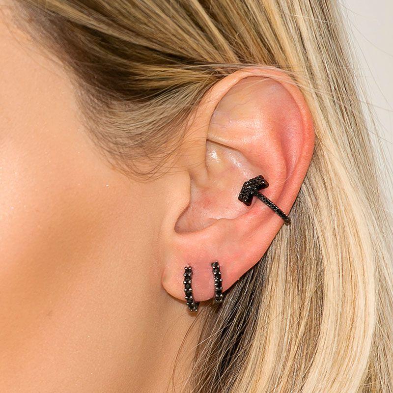 Piercing falso seta cravejada ródio negro semi joia