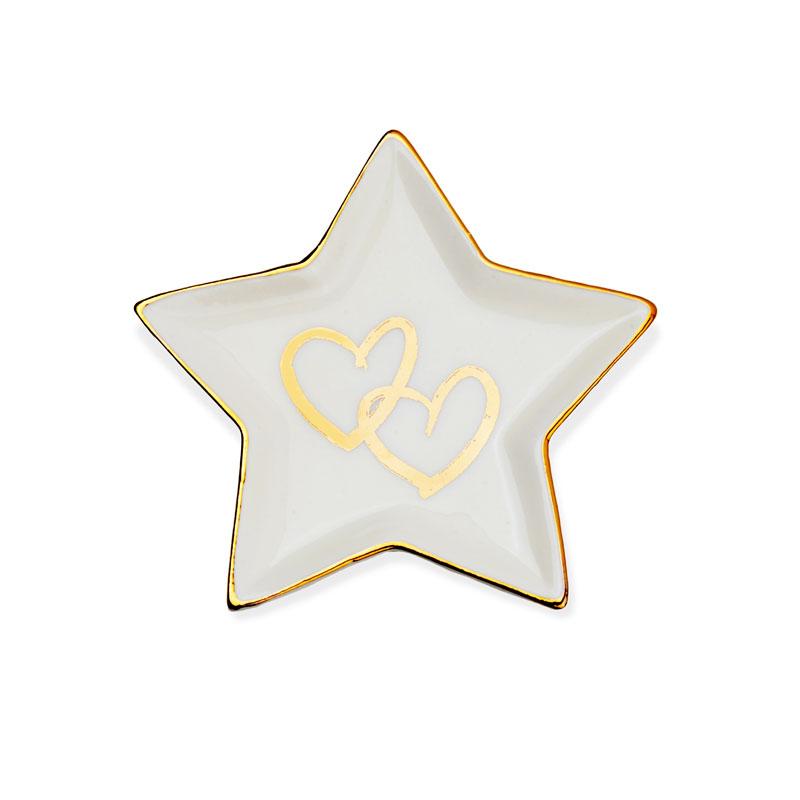 Pratinho de porcelana estrela com coração dourado