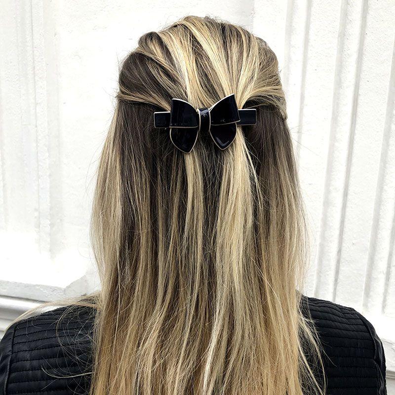 Presilha cabelo laço escuro