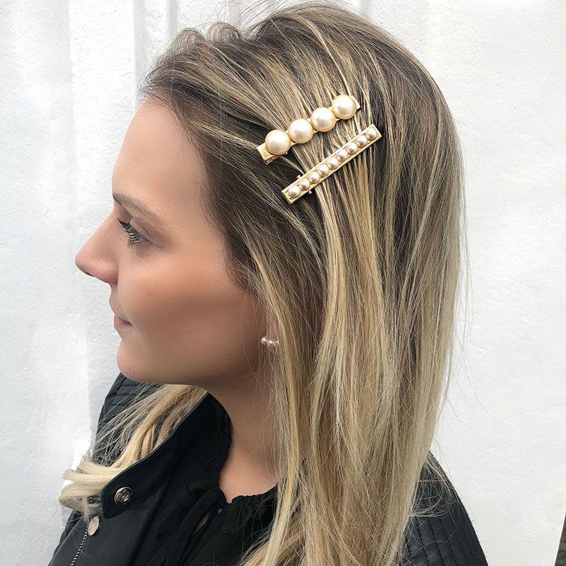 Presilha de cabelo pérolas dourada bico de pato