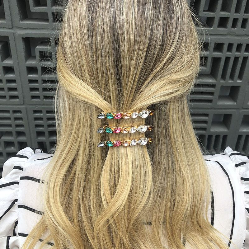 Presilha de cabelo gotas coloridas dourada
