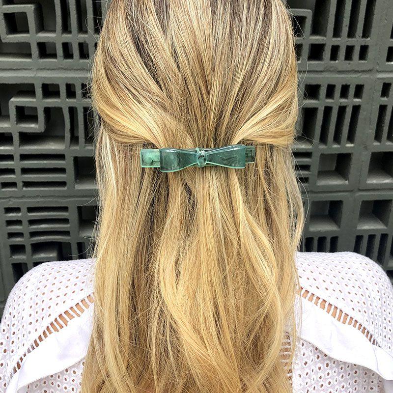 Presilha de cabelo laço mesclado turquesa e preto