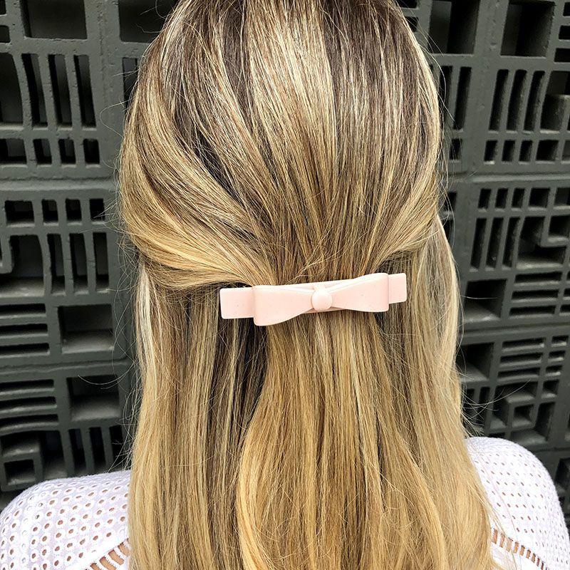 Presilha de cabelo laço rosa