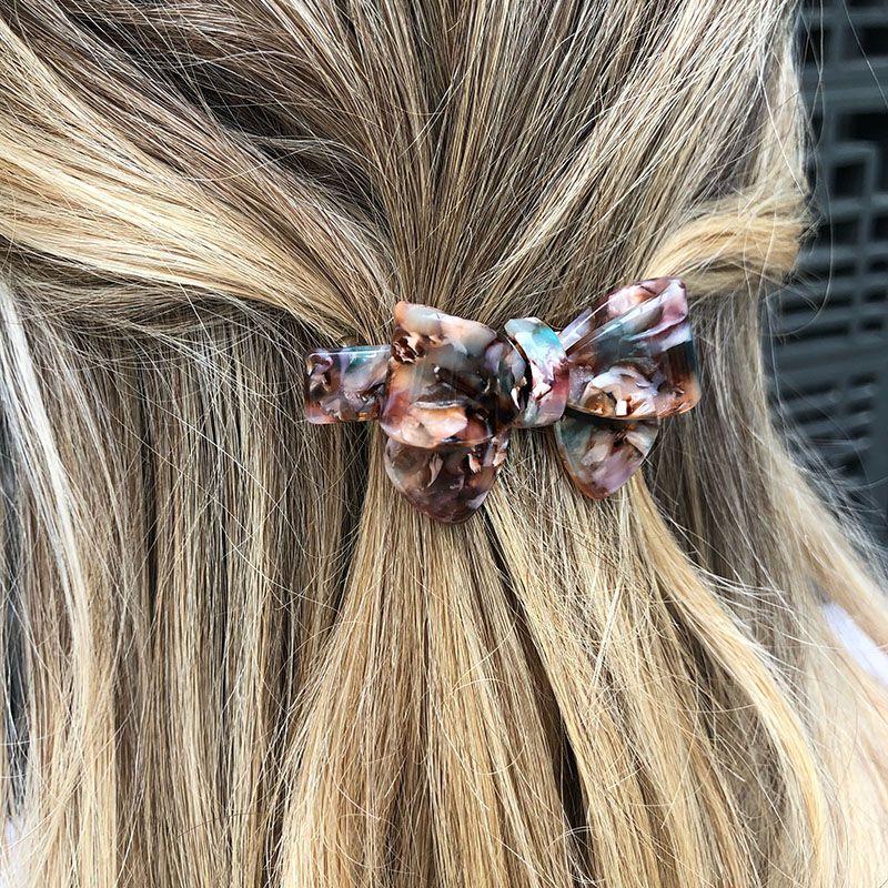 Presilha de cabelo laço rose mesclado