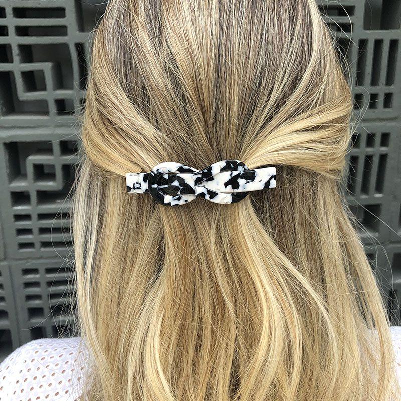 Presilha de cabelo nó mesclado preto e branco