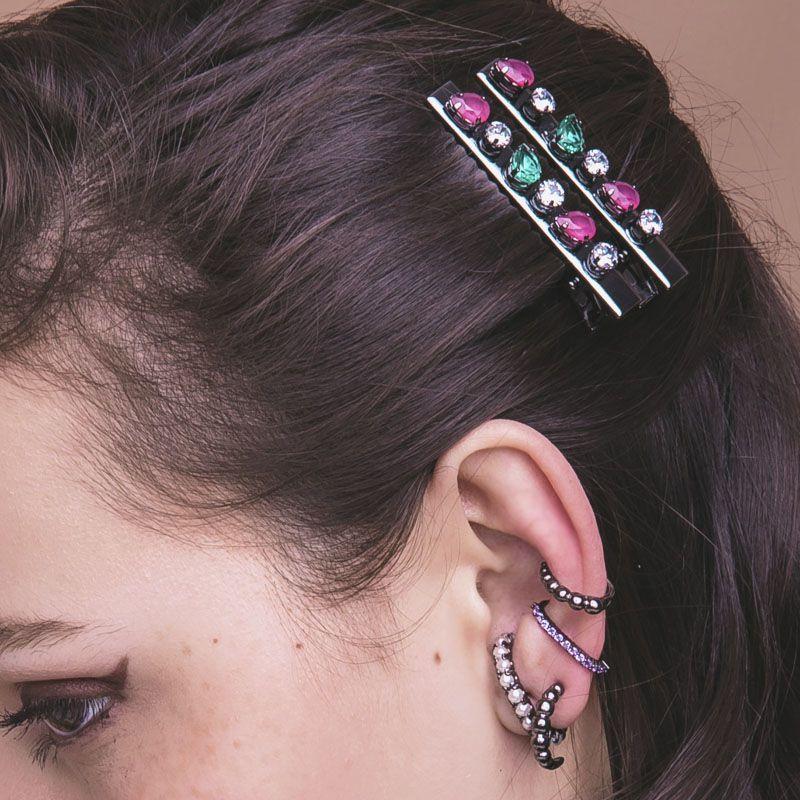 Presilha de cabelo pedras coloridas ródio negro bico de pato