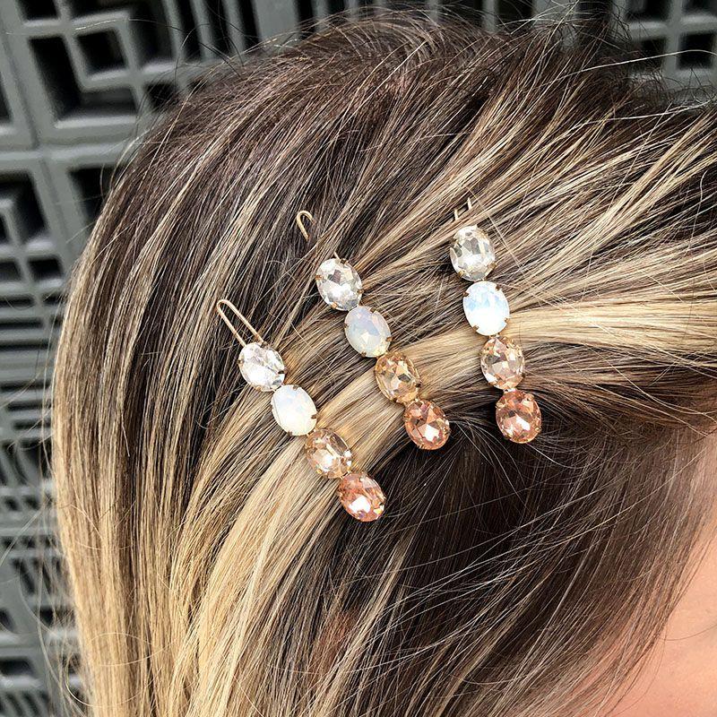 Presilha de cabelo pedras ovais rose dourada