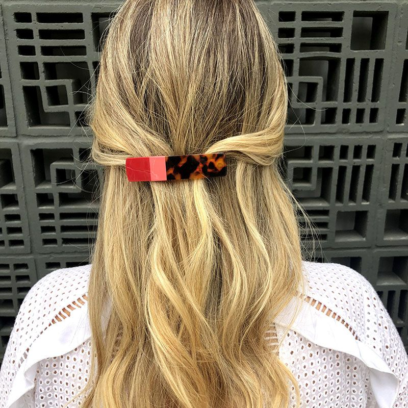 Presilha de cabelo tartaruga e rosa