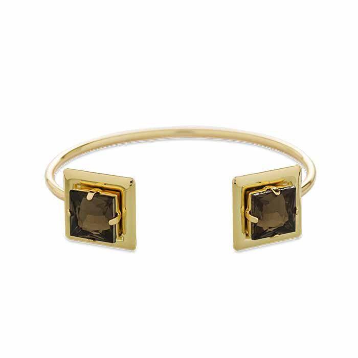 Bracelete Quadrado Sobreposto nas Pontas Dourado