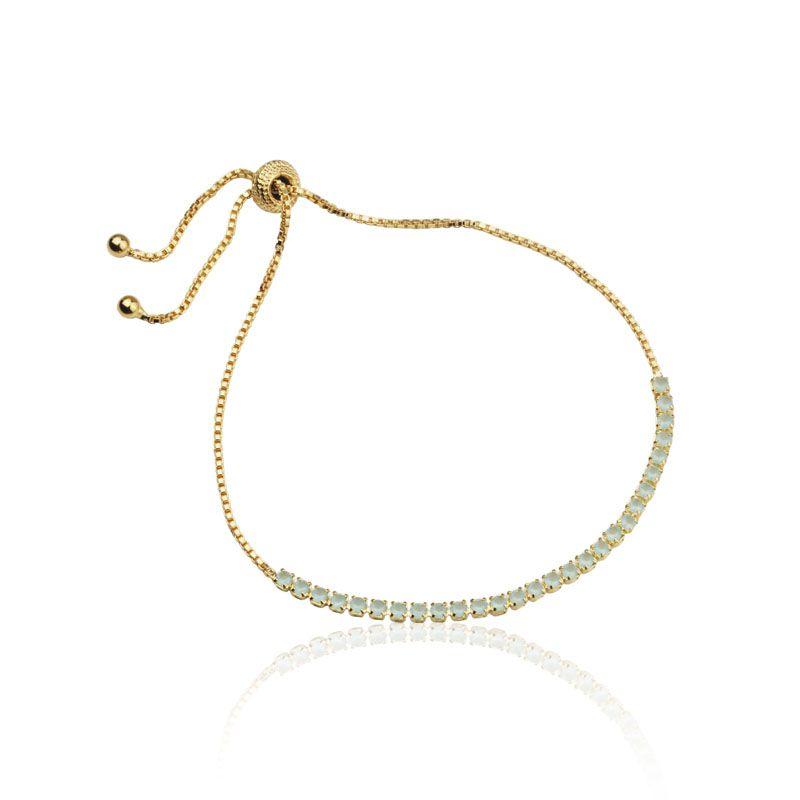 Pulseira fio cor turmalina regulável banho de ouro