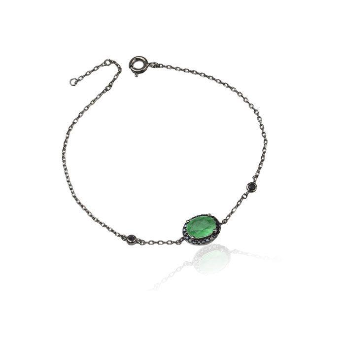 Pulseira oval cor esmeralda cravejada ródio negro