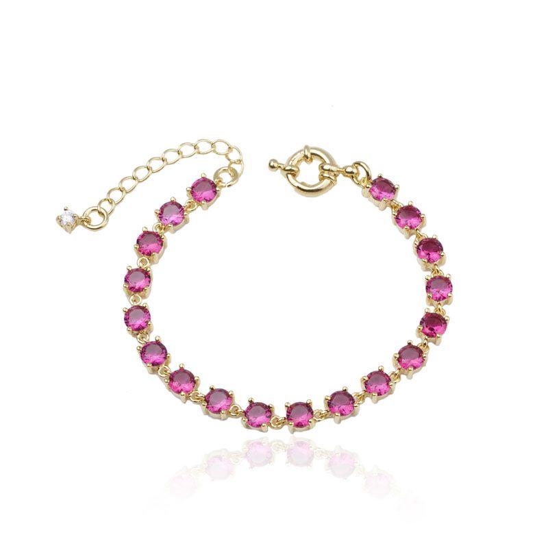 Pulseira riviera pedra redonda rosa pink banho de ouro