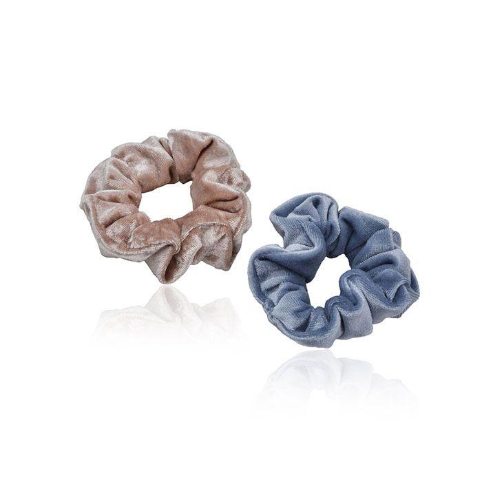 Scrunchie Simples Veludo Molhado Rose e Azul