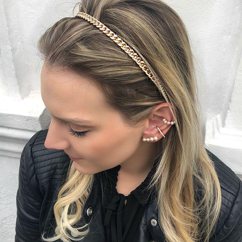 Tiara de cabelo corrente de metal dourada