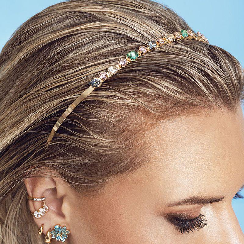 Tiara de cabelo colorida dourada