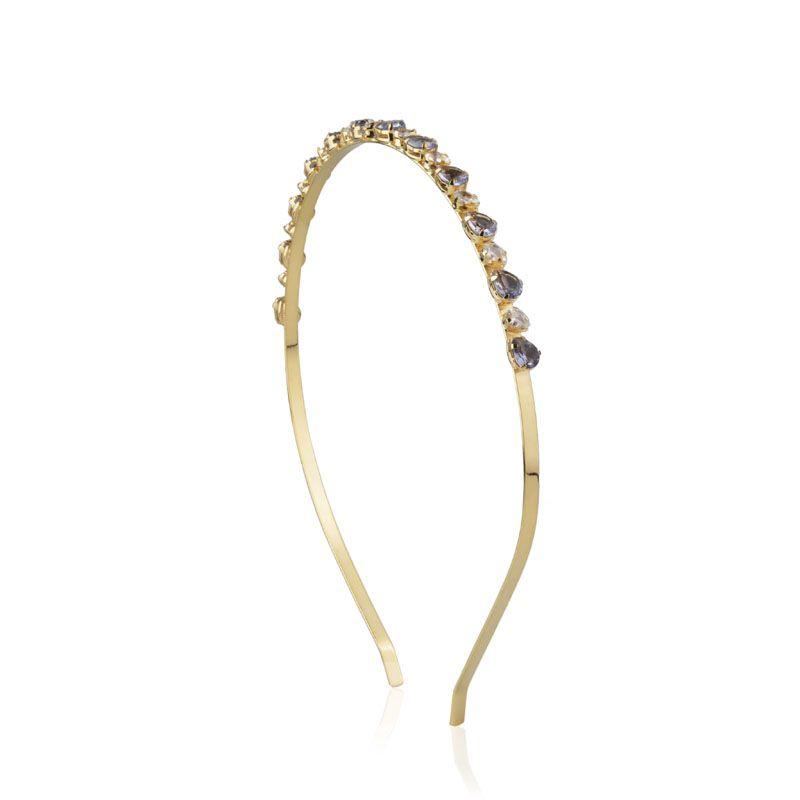 Tiara de cabelo cor safira e cristal dourada