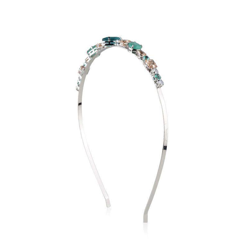 Tiara de cabelo gotas cristais turmalina e marfim ródio branco