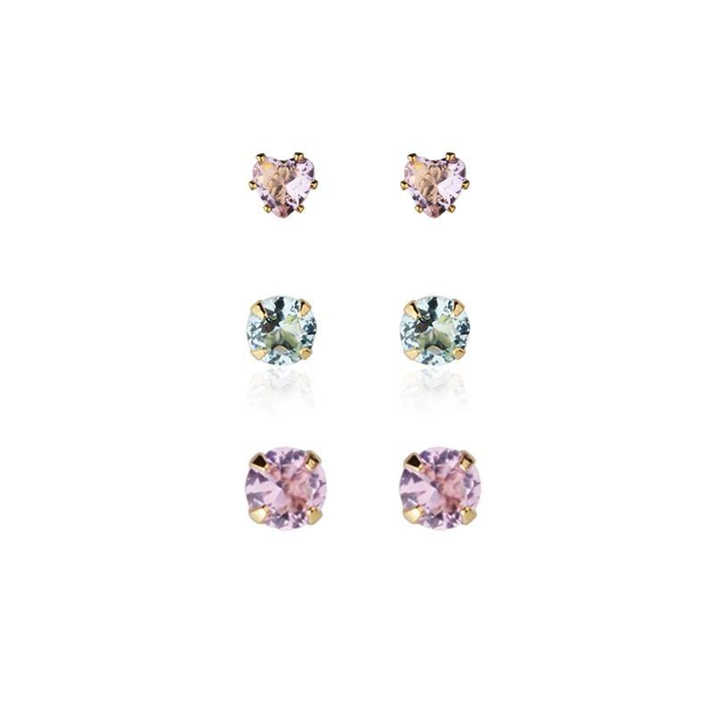 Trio de brincos pontos de luz e coração rosa e azul banho de ouro