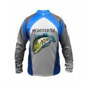 Camisa New Fish 03 Monster 3X Tucunaré Azul - Nova Coleção
