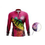 Camiseta Feminina Mar Negro Fishing Tucunaré Rosa