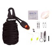 Chaveiro Paracord Kit Sobrevivência c/ Apito XGJ-8 (20 Itens)