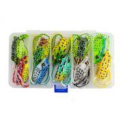 Kit com 10 Iscas Artificiais Frog + Estojo