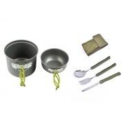 Kit Panelas Camping Outdoor DS-101 + Canivete Talher
