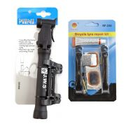 Mini Bomba de Ar WS-283 + Kit Reparo Pneu Bike SF-230