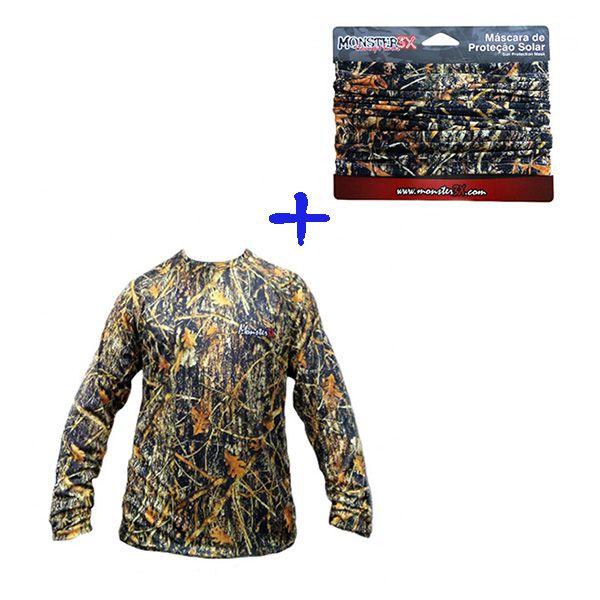 Camisa Monster 3X + Máscara de Proteção Camo 03  - Comprando & Pescando