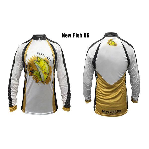 Camisa New Fish 06 Monster 3X Dourado - Nova Coleção  - Comprando & Pescando