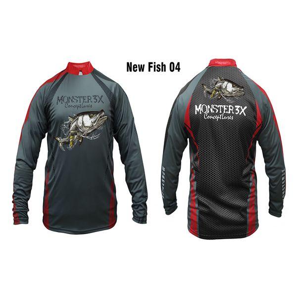 Camisa New Fish 04 Monster 3X Robalo - Nova Coleção  - Comprando & Pescando