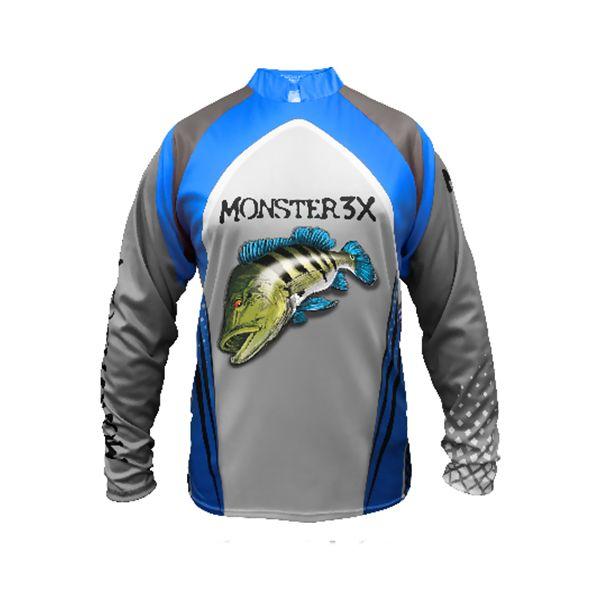 Camisa New Fish 03 Monster 3X Tucunaré Azul - Nova Coleção  - Comprando & Pescando